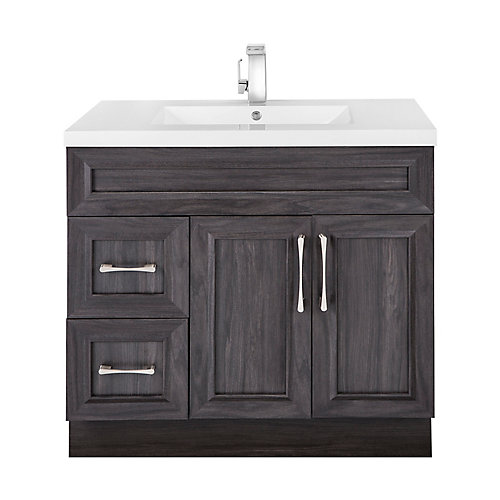 Karoo Ash 36-inch W 2-Drawer 2-Door Freestanding Vanity in Brown With Acrylic Top in White