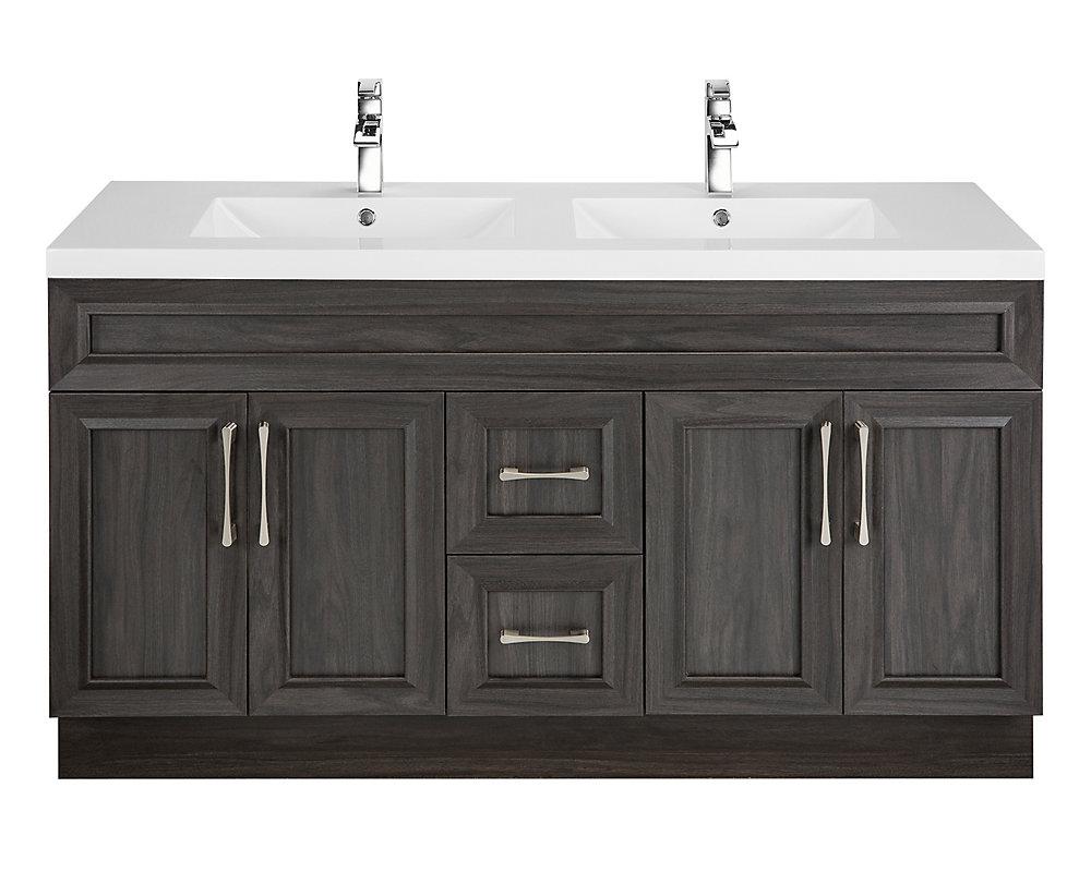 Cutler kitchen bath meuble lavabo karoo ash style shaker 152 4 cm 60 po 4 portes 2 - Meuble shaker ...
