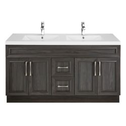 Cutler Kitchen & Bath Karoo Ash 60-inch W 2-Drawer 4-Door Vanity in Brown With Acrylic Top in White, Double Basins