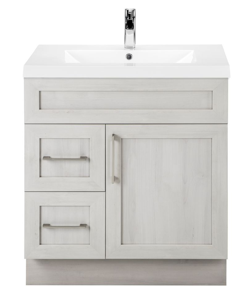Cutler Kitchen & Bath Meadows Cove 30-inch W 2-Drawer 1-Door Freestanding Vanity in Off-White With Acrylic Top in White