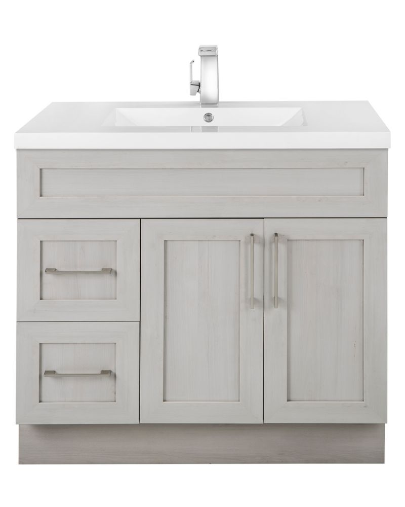 Meadows Cove 36-inch W 2-Drawer 2-Door Freestanding Vanity in Off-White With Acrylic Top in White