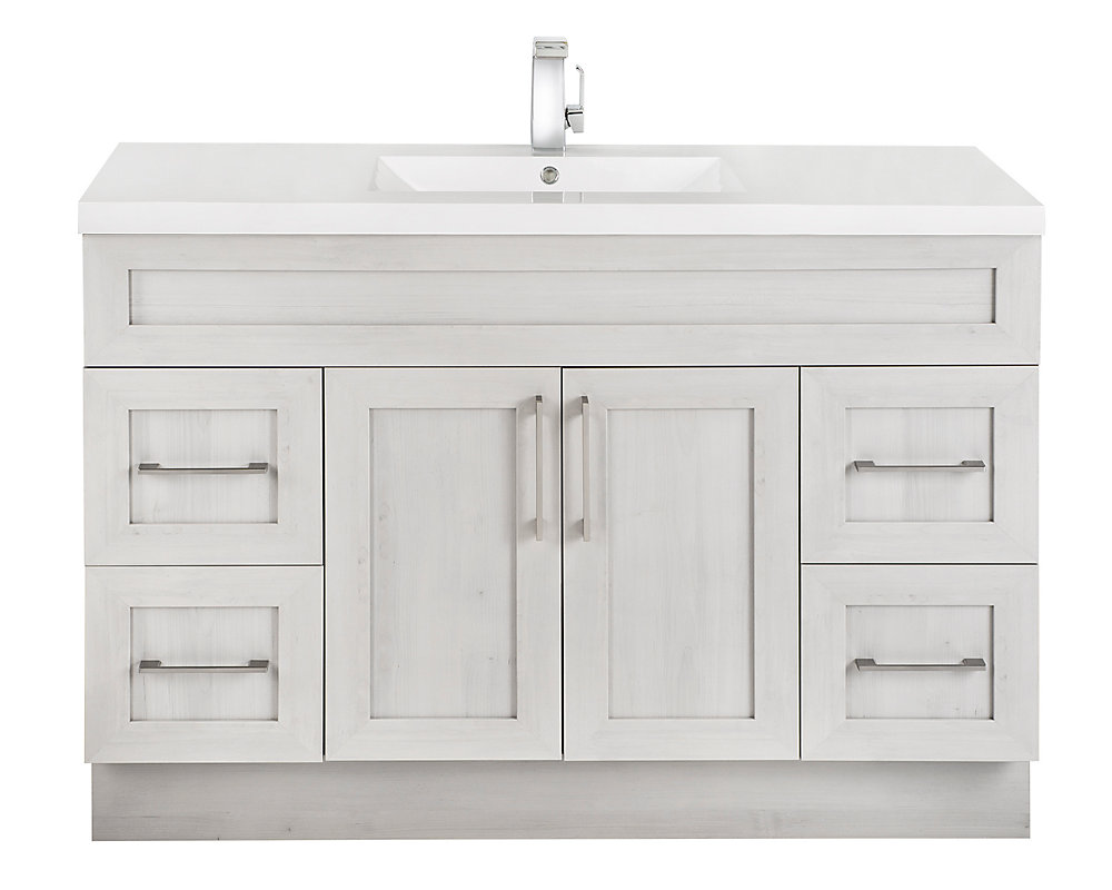 Outstanding Meadows Cove 48 Inch W 4 Drawer 2 Door Freestanding Vanity In Off White With Acrylic Top In White Download Free Architecture Designs Momecebritishbridgeorg