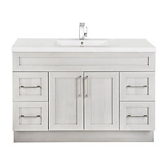 Meadows Cove 48-inch W 4-Drawer 2-Door Freestanding Vanity in Off-White With Acrylic Top in White