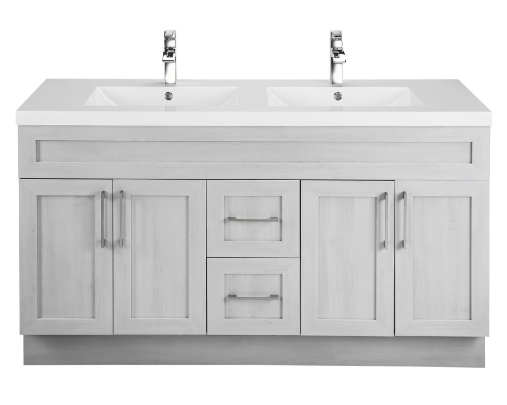 Meadows Cove 60-inch W 2-Drawer 4-Door Vanity in Off-White With Acrylic Top in White, Double Basins