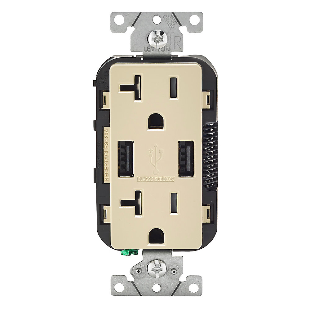 Combination Duplex Receptacle/Outlet and USB Charger