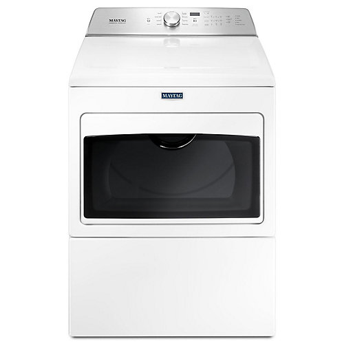 Maytag White, Large Capacity Gas Dryer with IntelliDry Sensor - 7.4 cu. Feet.