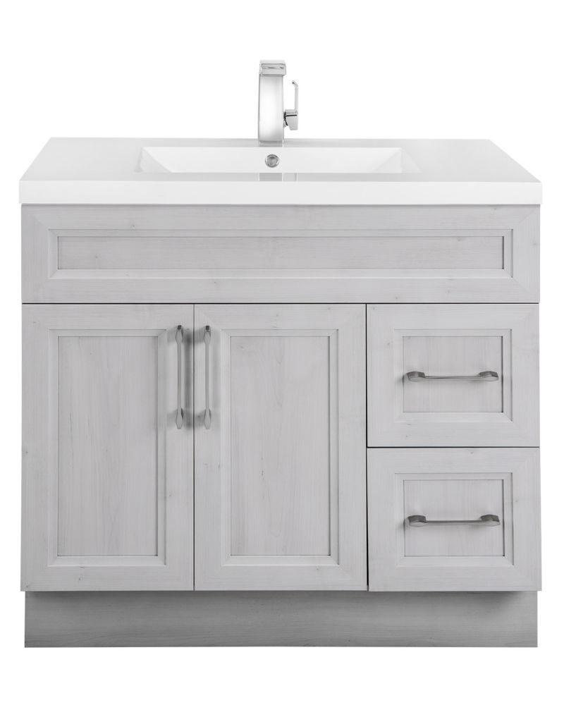 Cutler Kitchen & Bath Meadows Cove 36-inch W 2-Drawer 2-Door Freestanding Vanity in Off-White With Acrylic Top in White