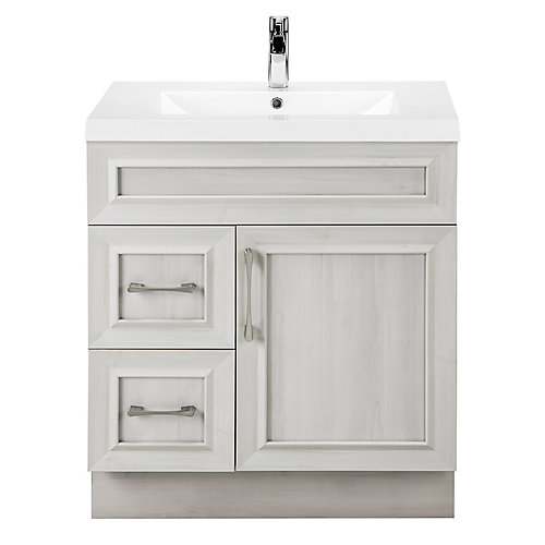 Meadows Cove 30-inch W 2-Drawer 1-Door Freestanding Vanity in Off-White With Acrylic Top in White
