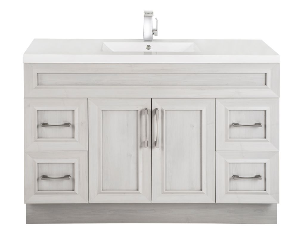 Cutler Kitchen & Bath Meadows Cove 48-inch W 4-Drawer 2-Door Freestanding Vanity in Off-White With Acrylic Top in White