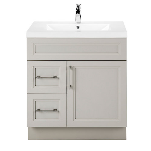 Veil of Mist 30-inch W 2-Drawer 1-Door Freestanding Vanity in Off-White With Acrylic Top in White