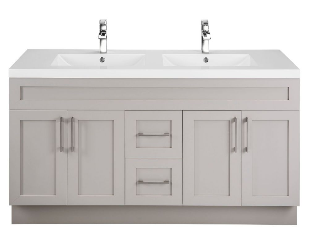 Veil of Mist 60-inch W 2-Drawer 4-Door Vanity in Off-White With Acrylic Top in White, Double Basins