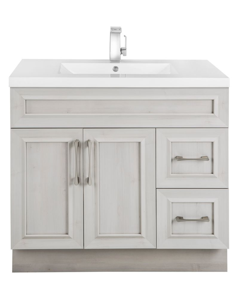 Cutler Kitchen & Bath Veil of Mist 36-inch W 2-Drawer 2-Door Freestanding Vanity in Off-White With Acrylic Top in White