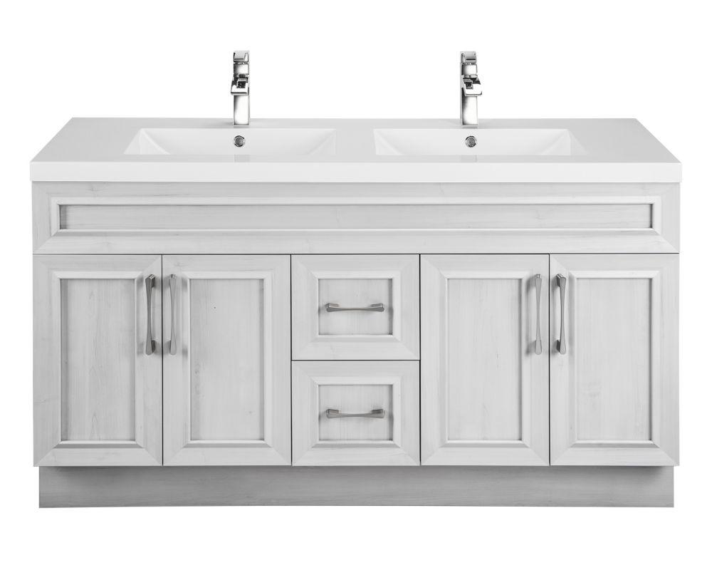 Cutler Kitchen & Bath Veil Of Mist 60-inch W 2-Drawer 4-Door Vanity In Off-White With Acry