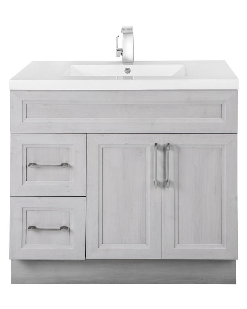cutler kitchen bath veil of mist 36 inch w 2 drawer 2 door freestanding vanity in off wh. Black Bedroom Furniture Sets. Home Design Ideas