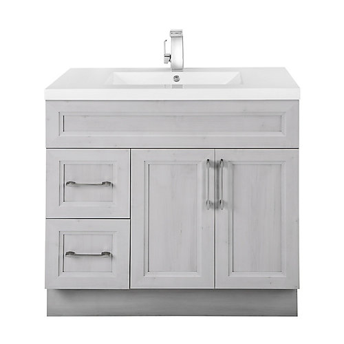 Veil of Mist 36-inch W 2-Drawer 2-Door Freestanding Vanity in Off-White With Acrylic Top in White