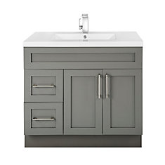 Fossil 36-inch W 2-Drawer 2-Door Freestanding Vanity in Grey With Acrylic Top in White