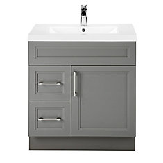Fossil 30-inch W 2-Drawer 1-Door Freestanding Vanity in Grey With Acrylic Top in White