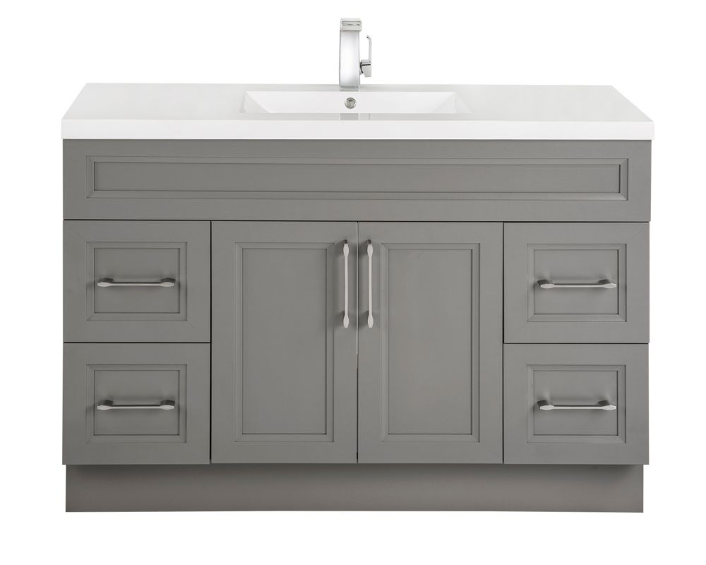 Cutler Kitchen & Bath Fossil 48-inch W 4-Drawer 2-Door Freestanding Vanity in Grey With Acrylic Top in White