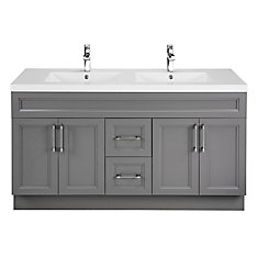 Fossil 60-inch W 2-Drawer 4-Door Vanity in Grey With Acrylic Top in White, Double Basins
