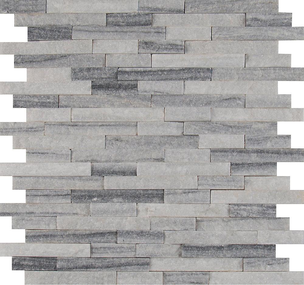 Alaska Grey Split-Face 12-inch x 12-inch Marble Mesh-Mounted Mosaic Tile (10 sq. ft. / case)
