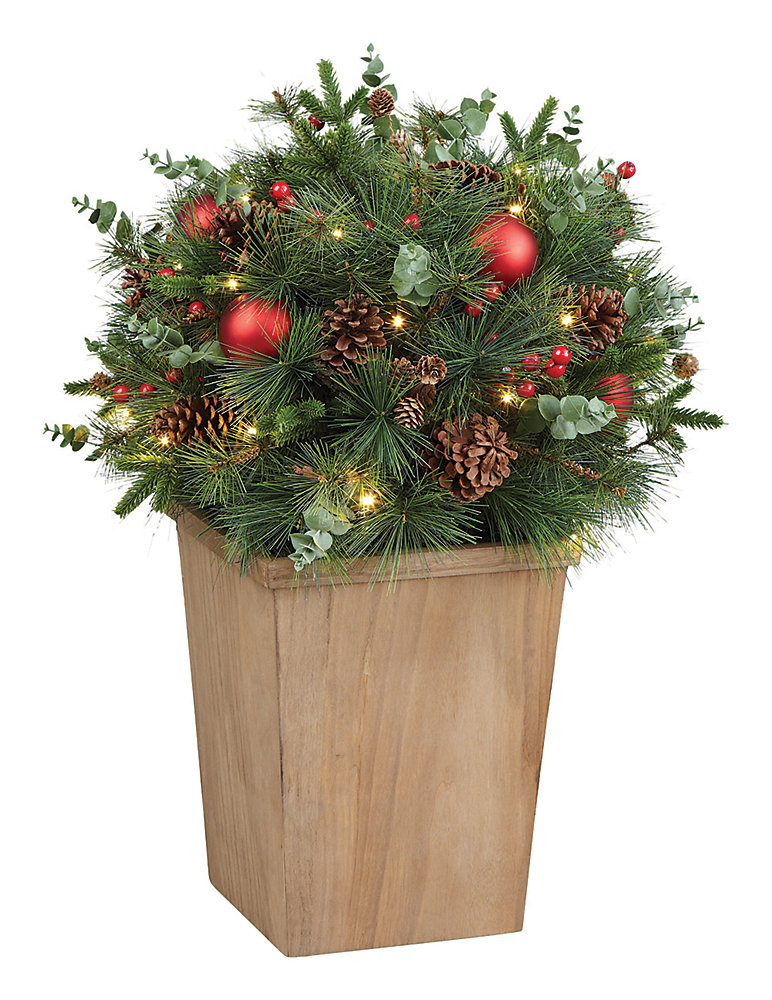 33-inch Floral Pre-lit Potted Tree (Battery Operated)