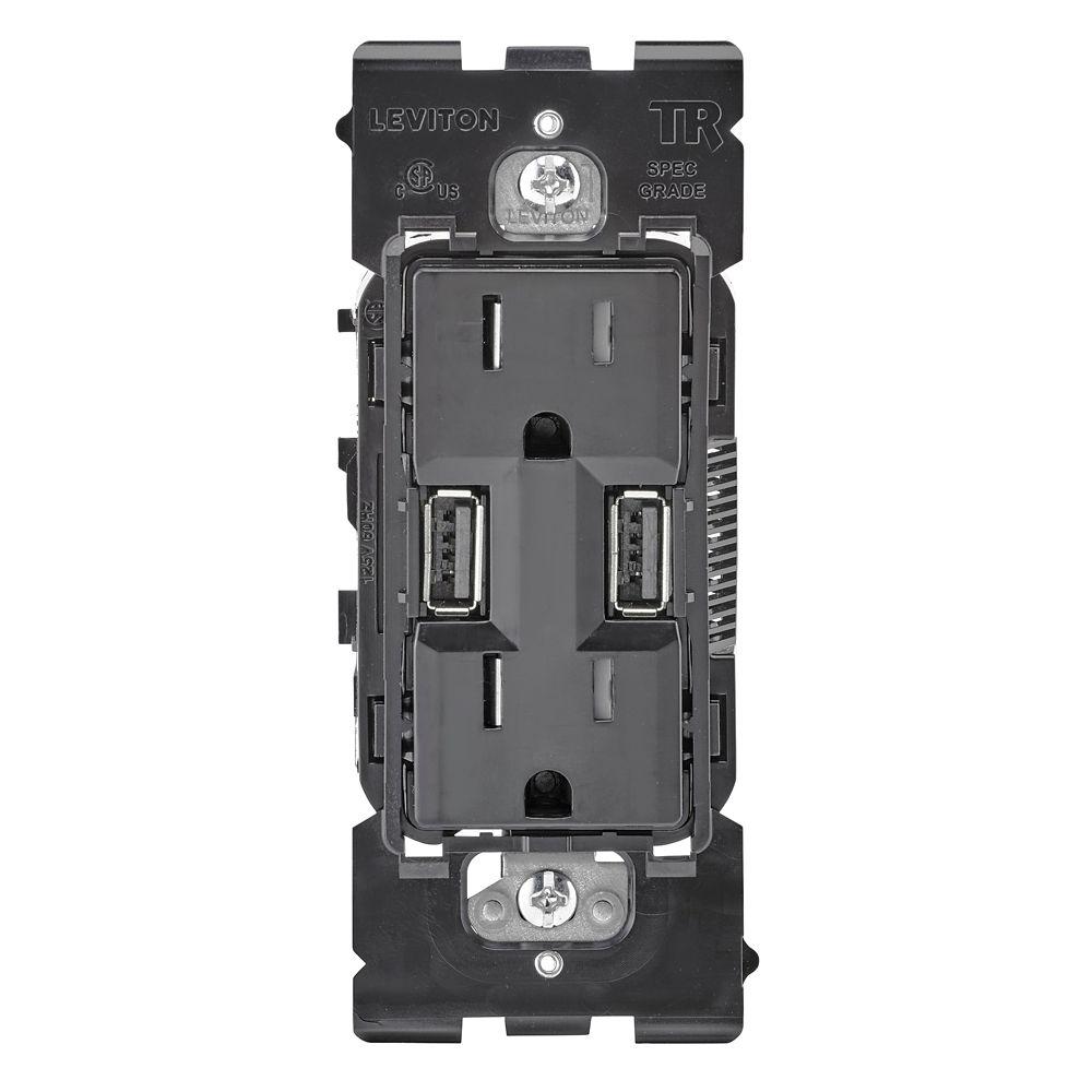 Unité de base pour chargeur USB 3,6A / Prise de courant 15A (face avant et plaque murale non incluses)