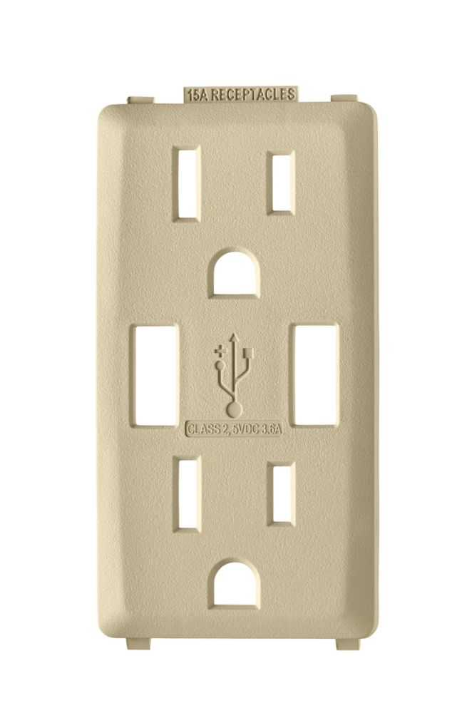 Face Plate for 3.6A USB Charger/15A Receptacle (Wallplate not Included) in Cafe Latte