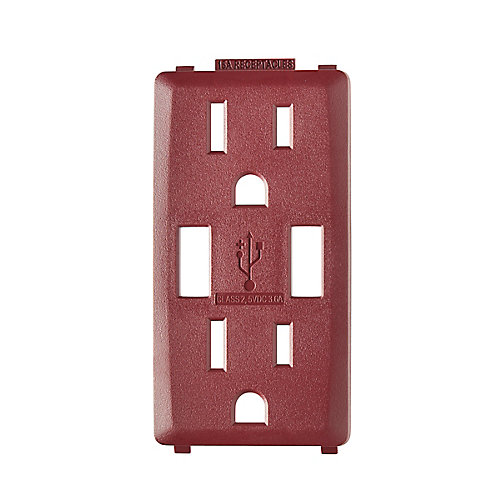 Face Plate for 3.6A USB Charger/15A Receptacle (Wallplate not Included) in Deep Garnet