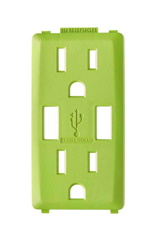 Face Plate for 3.6A USB Charger/15A Receptacle (Wallplate not Included) in Granny Smith Apple