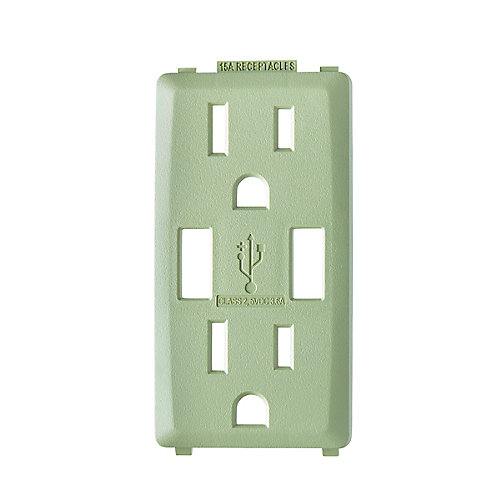 Face Plate for 3.6A USB Charger/15A Receptacle (Wallplate not Included) in Prairie Sage