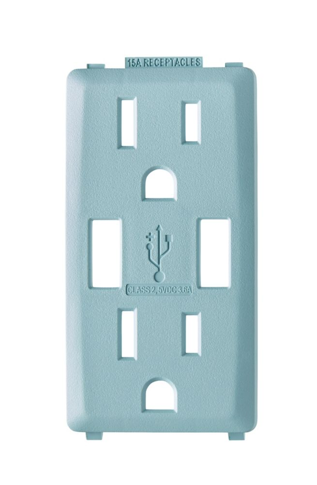 Face Plate for 3.6A USB Charger/15A Receptacle (Wallplate not Included) in Sea Spray