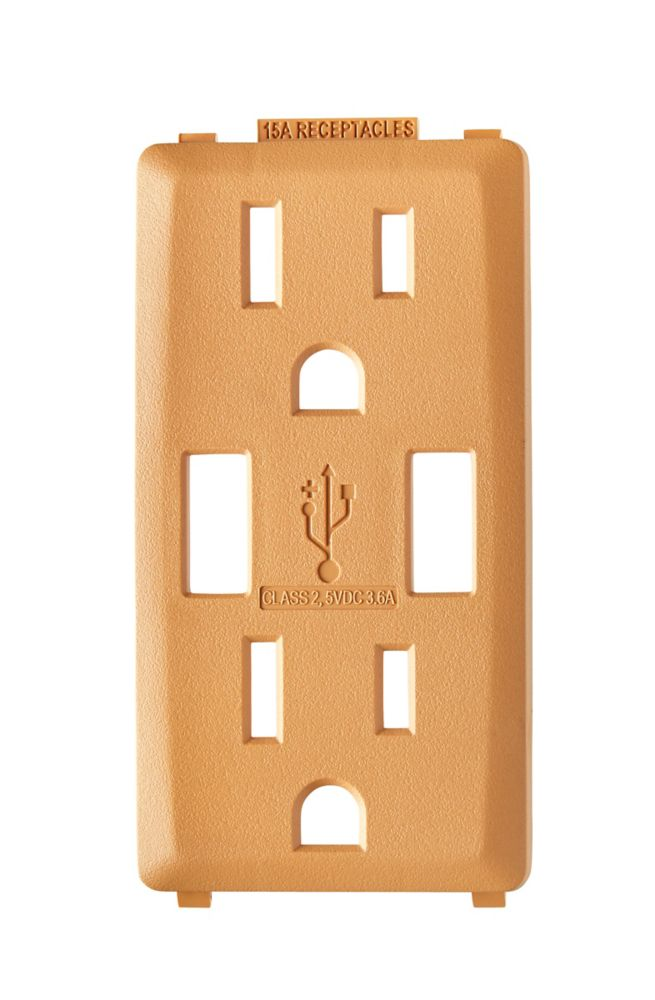 Face Plate for 3.6A USB Charger/15A Receptacle (Wallplate not Included) in Toasted Coconut
