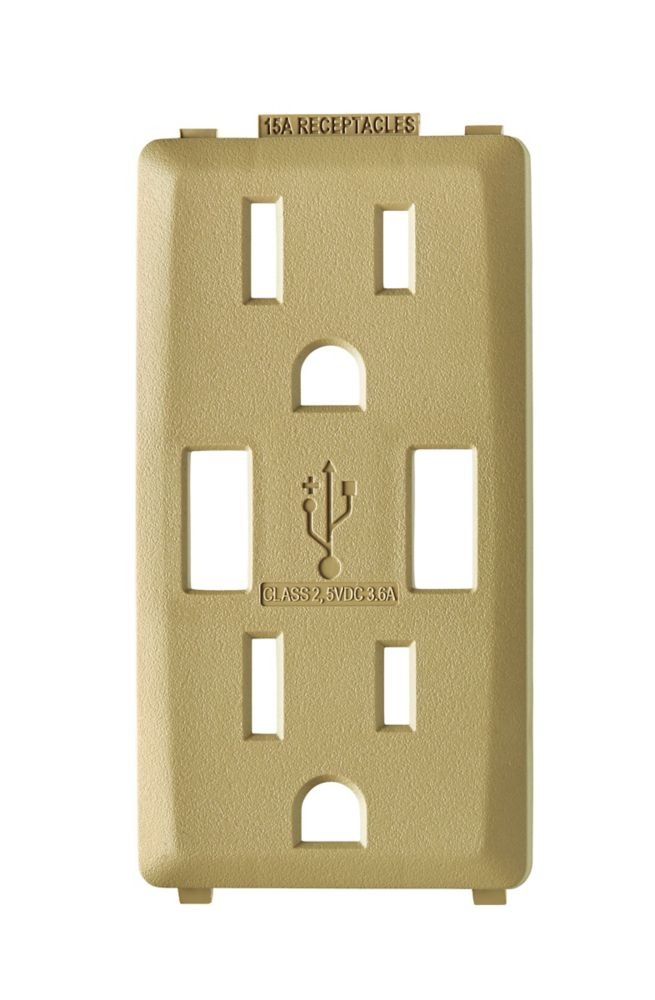 Face Plate for 3.6A USB Charger/15A Receptacle (Wallplate not Included) in Warm Caramel