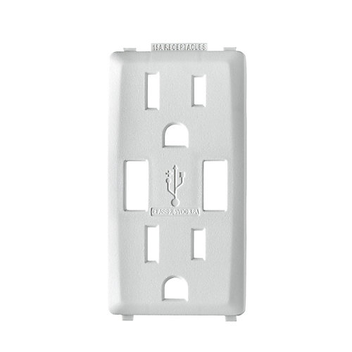 Face Plate for 3.6A USB Charger/15A Receptacle (Wallplate not Included) in White