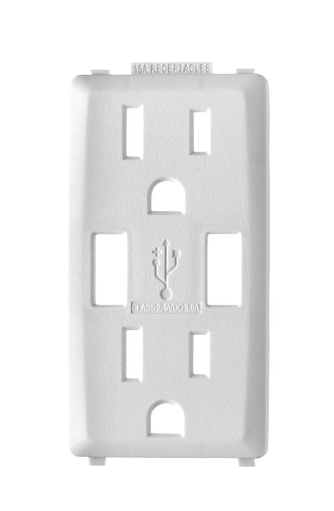 Decora Face Plate for 3.6A USB Charger/15A Receptacle (Wallplate not Included) in White