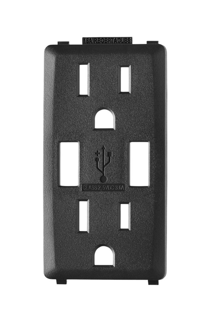 Face Plate for 3.6A USB Charger/15A Receptacle (Wallplate not Included) in Onyx Black