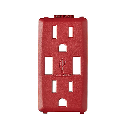 Face Plate for 3.6A USB Charger/15A Receptacle (Wallplate not Included) in Red Delicious