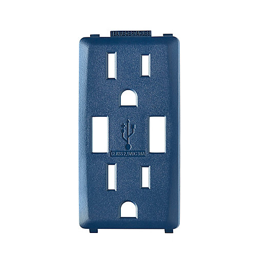 Face Plate for 3.6A USB Charger/15A Receptacle (Wallplate not Included) in Rich Navy