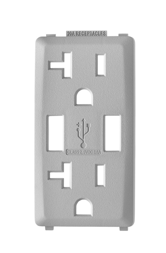 Face Plate for 3.6A USB Charger/20A Receptacle (Wallplate not Included) in Pebble Gray