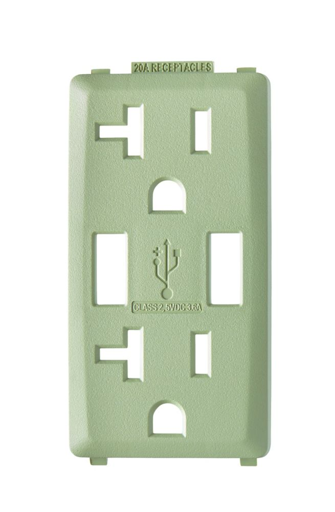 Face Plate for 3.6A USB Charger/20A Receptacle (Wallplate not Included) in Prairie Sage