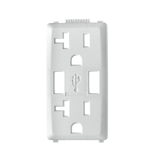 Face Plate for 3.6A USB Charger/20A Receptacle (Wallplate not Included) in White