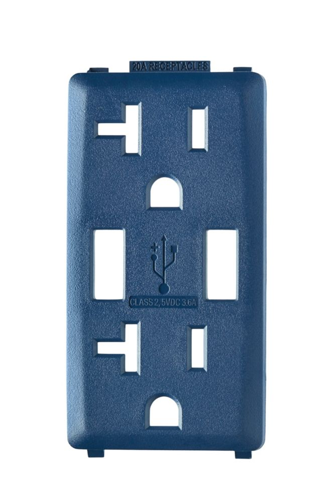 Face Plate for 3.6A USB Charger/20A Receptacle (Wallplate not Included) in Rich Navy