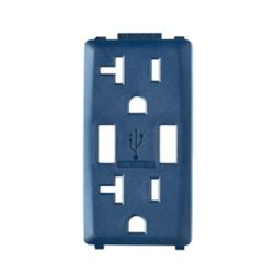 Leviton Face Plate for 3.6A USB Charger/20A Receptacle (Wallplate not Included) in Rich Navy