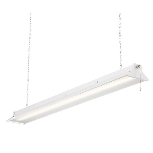 Commercial Electric 3 ft. 64-Watt White Integrated LED Shop Light with Pull Chain - ENERGY STAR®