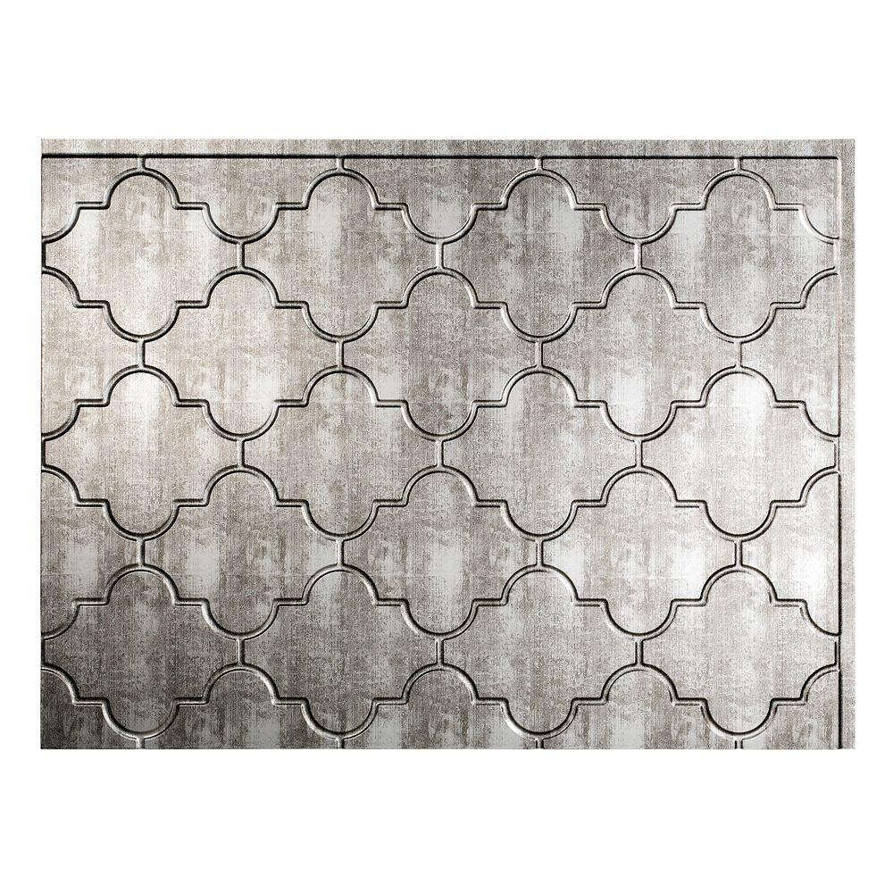 - Fasade Monaco Crosshatch Silver 18 Inch X 24 Inch PVC Backsplash