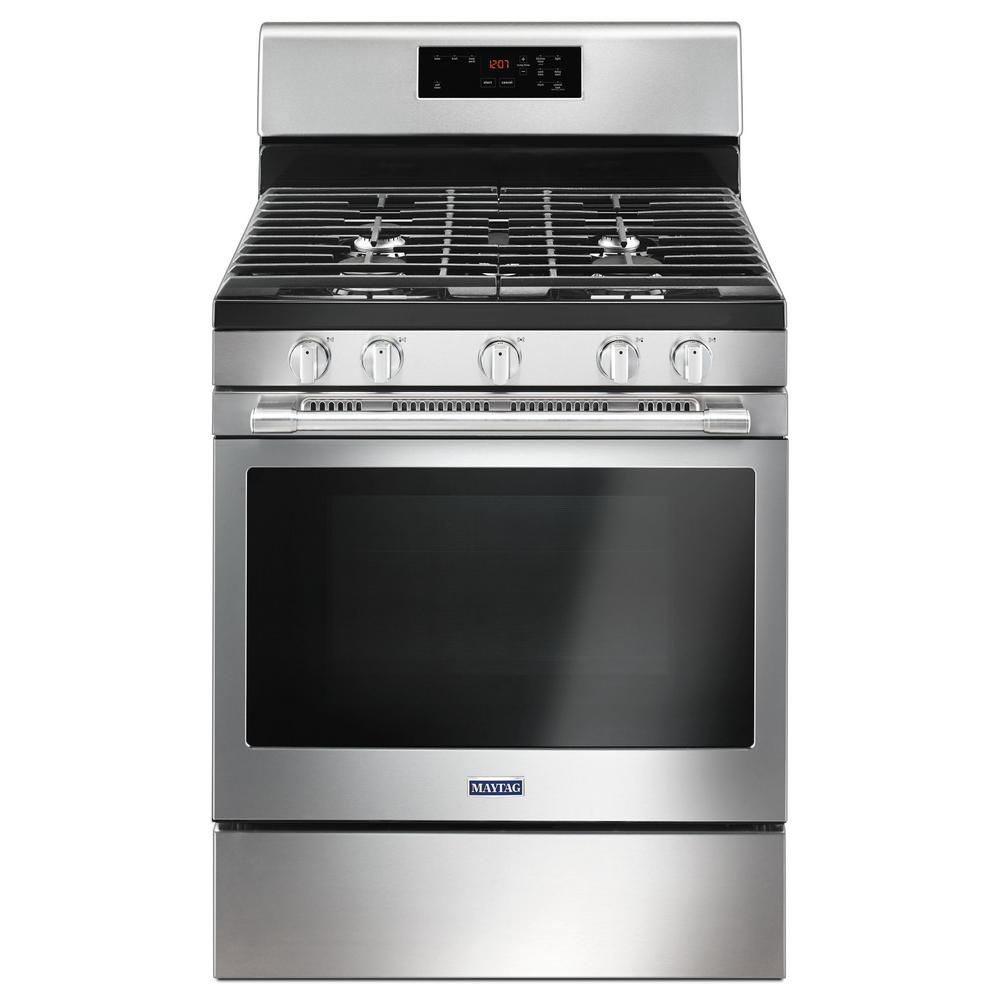 Maytag 30-inch 5.0 cu.ft. Single Oven Gas Range with Self-Cleaning in Stainless Steel