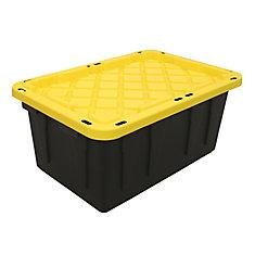 Bac robuste avec couvercle noir/jaune, 64 L