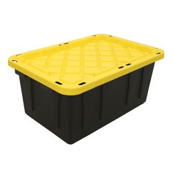HDX Strong Box in Black/Yellow, 64 L