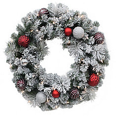 30-inch 35-Light LED Flocked Shaughnessy Wreath
