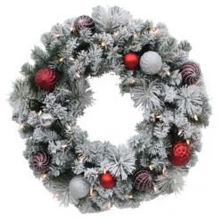 Home Accents Holiday 30-inch 35-Light LED Flocked Shaughnessy Wreath